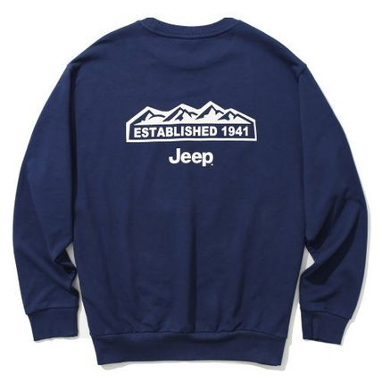 JEEP Sweatshirts Crew Neck Unisex Street Style Long Sleeves Plain Cotton Logo 13