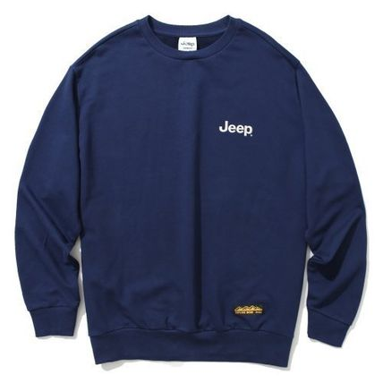 JEEP Sweatshirts Crew Neck Unisex Street Style Long Sleeves Plain Cotton Logo 14