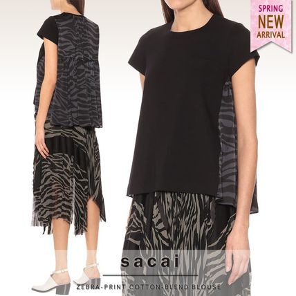Short Zebra Patterns Casual Style Plain Cotton Short Sleeves