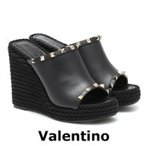 VALENTINO Open Toe Platform Casual Style Blended Fabrics Studded Plain