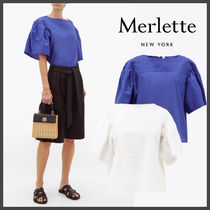merlette Casual Style Puffed Sleeves Plain Cotton Short Sleeves