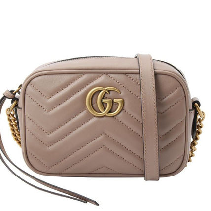 GUCCI GG Marmont Casual Style Unisex Plain Leather Party Style Office Style