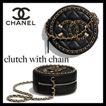 CHANEL Casual Style Chain Plain Leather Party Style Office Style