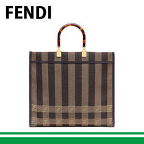 FENDI F IS FENDI Stripes Casual Style Canvas Blended Fabrics A4 Office Style