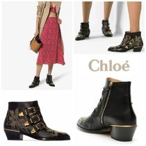 Chloe Casual Style Sheepskin Studded Plain Ankle & Booties Boots