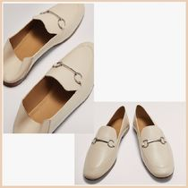 Massimo Dutti Casual Style Plain Leather Block Heels Office Style