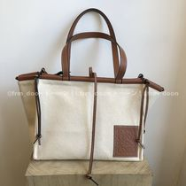 LOEWE Calfskin Canvas A4 Plain Leather Logo Totes