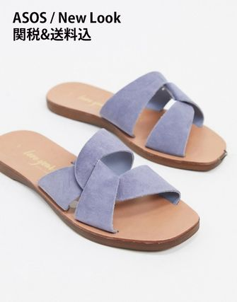 Open Toe Casual Style Suede Plain Elegant Style Mules
