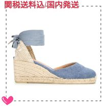 Castaner Bi-color Plain Leather Platform & Wedge Sandals