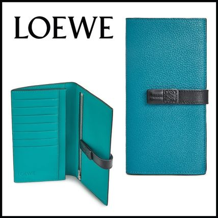 LOEWE Calfskin Bi-color Plain Folding Wallet Logo Long Wallets