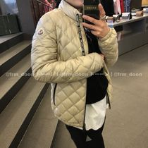 MONCLER Short Nylon Plain Logo Down Jackets