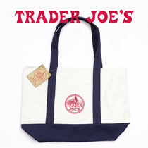 Trader Joe's Unisex Canvas Street Style A4 2WAY Bi-color Plain Handmade