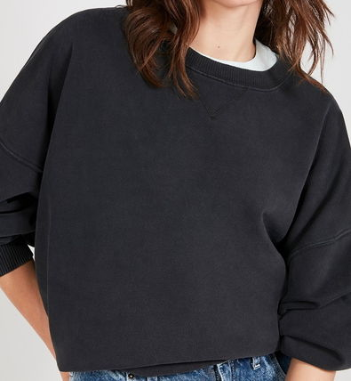 Crew Neck Long Sleeves Plain Cotton Oversized Puff Sleeves
