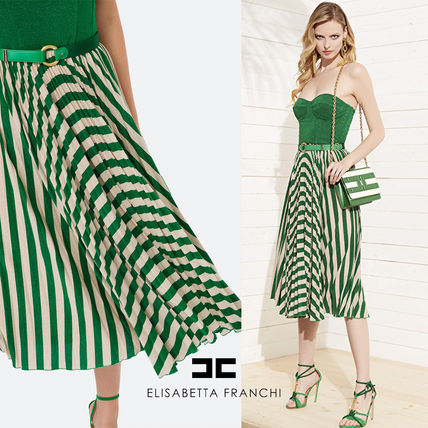 Stripes Casual Style Tight Maxi A-line Sleeveless Flared