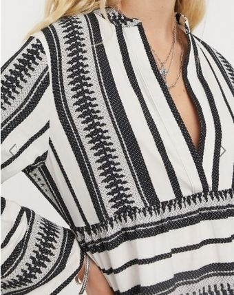Short Stripes Casual Style V-Neck Long Sleeves Cotton
