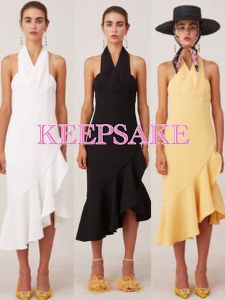 Sleeveless Flared Halter Neck Plain Medium Dresses