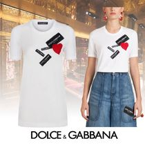 Dolce & Gabbana Crew Neck Street Style Plain Cotton Medium Short Sleeves