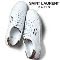Saint Laurent Leopard Patterns Round Toe Casual Style Blended Fabrics
