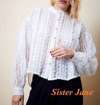 Sister Jane Casual Style Long Sleeves Plain Party Style Lace