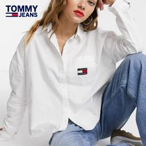 Tommy Hilfiger Casual Style Long Sleeves Cotton Oversized Shirts & Blouses