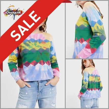 Casual Style Tie-dye Boat Neck Long Sleeves Cotton Medium