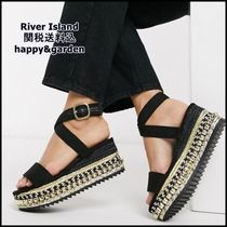 River Island Open Toe Platform Casual Style Studded Street Style Plain