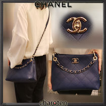 CHANEL ICON Casual Style Calfskin 3WAY Chain Plain Leather Party Style