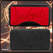 Christian Louboutin Panettone  Unisex Leather Long Wallet  Logo Long Wallets