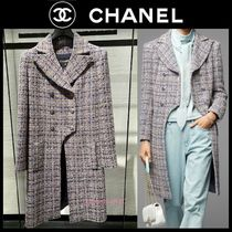 CHANEL Stand Collar Coats Other Plaid Patterns Casual Style Tweed