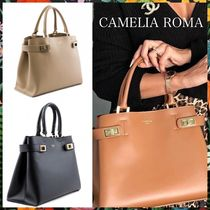 CAMELIA ROMA Casual Style 2WAY Plain Leather Office Style Totes