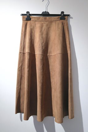 Plain Leather Medium Midi Skirts