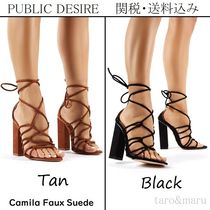PUBLIC DESIRE Open Toe Lace-up Casual Style Suede Faux Fur Plain