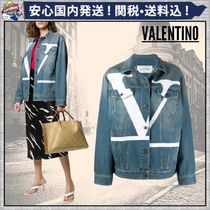 VALENTINO Short Denim Plain Denim Jackets Oversized Logo Jackets