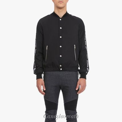 Black Cotton Bomber Jacket With White Balmain Logo