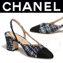 CHANEL ICON Other Plaid Patterns Plain Toe Tweed Leather Block Heels