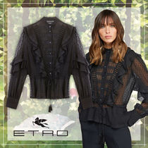 ETRO Dots Casual Style Tassel Long Sleeves Cotton Medium Lace