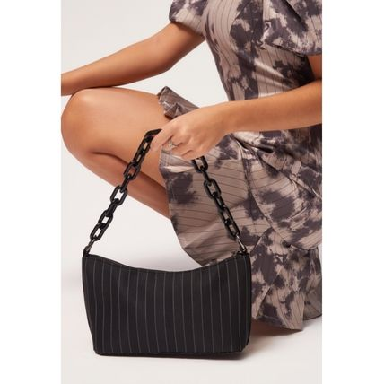 Stripes Casual Style Street Style Chain Crossbody