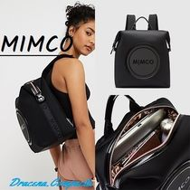 MIMCO Leopard Patterns Casual Style 2WAY Plain Logo Backpacks