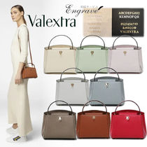 Valextra Brera Calfskin Suede 3WAY Plain Leather Party Style Elegant Style