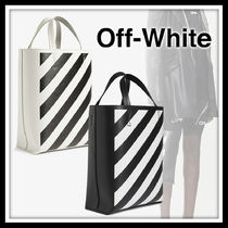 Off-White Stripes Unisex Nylon Street Style Bi-color Leather Logo