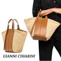 GIANNI CHIARINI 2WAY Plain Leather Straw Bags
