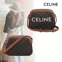 CELINE Casual Style Calfskin 2WAY Leather Crossbody Logo Camera Bag
