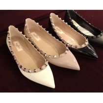 VALENTINO Enamel Studded Plain Leather Party Style Office Style