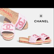 CHANEL Open Toe Platform Casual Style Plain Leather Mules Icy Color