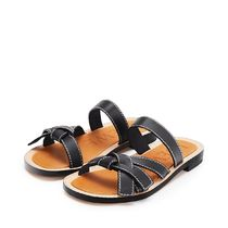 LOEWE GATE Open Toe Plain Leather Logo Sandals Sandal