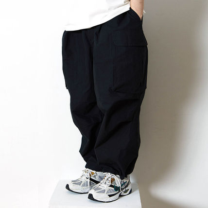 Nylon Plain Cotton Street Style Cargo Pants