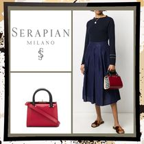 SERAPIAN Casual Style 2WAY Plain Leather Party Style Elegant Style