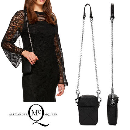 Casual Style Chain Plain Leather Logo Shoulder Bags