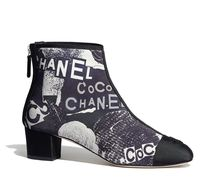 CHANEL Round Toe Casual Style Leather Block Heels Party Style