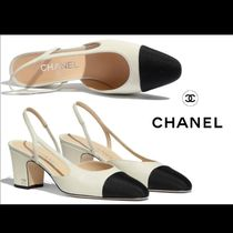CHANEL Casual Style Tweed Bi-color Plain Leather Block Heels Mules